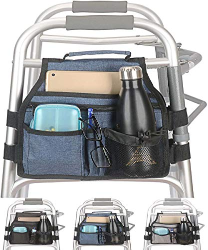 Side Walker Bag with Cup Holder, Folding Walkers Side Accessaries Organizer Pouch Tote for Seniors, Elderly (Blue)