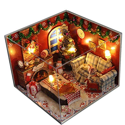 Flever Dollhouse Miniature DIY House Kit Creative Room with Furniture and Glass Cover for Romantic...