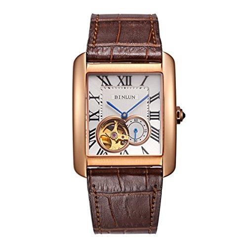 BINLUN Herren Uhr Rechteck Analog Automatik mit Braun Leder Armband Tourbillon BL0067C