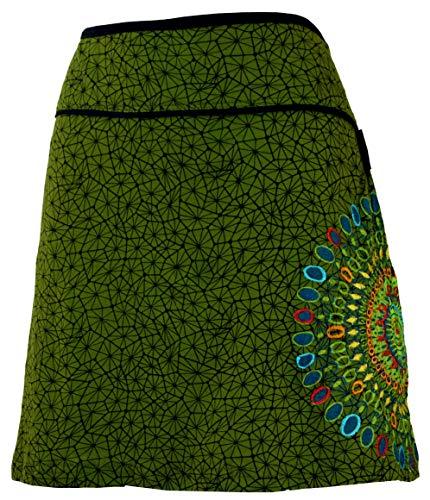 GURU-SHOP, Mini Falda, Falda de Verano, Falda Hippie, Falda Goa, Verde, Algodón, Tamaño:S/M (38), Faldas Cortas