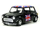 Mini Cooper Model (Black) with Union Jack Top Made of Die Cast Metal and Plastic Parts, Pull Back & Go Action Model - 384B by Welly