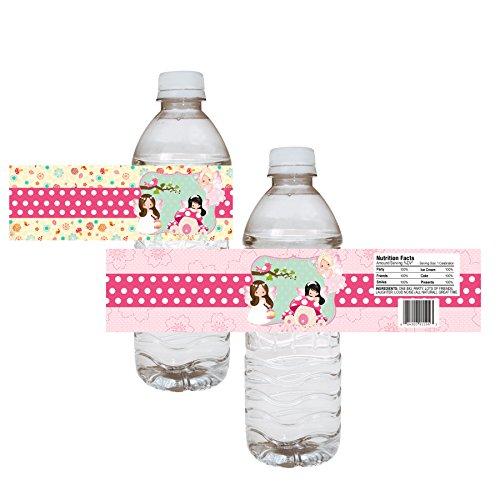 Adorebynat Party Decorations - EU etiquetas de las botellas de agua del partido de hadas - Girl Bosque infantil del bebé del cumpleaños pegatinas de ducha - conjunto de 12
