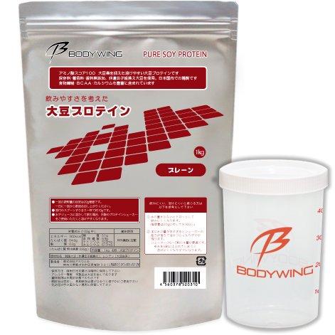 ボディウイング 大豆プロテイン 1kg 無添加 飲みやすいソイプロテイン シェーカーセット