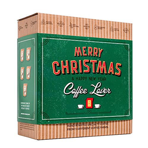 Kaffee Geschenk Set für Weihnachten - Gourmet Geschenkset mit 5 Coffee Brewer aus Aller Welt für Kaffeeliebhaber | Spezialitäten & Gemahlen Weihnachtskaffee | Coffee Geschenkidee für Mann & Frau