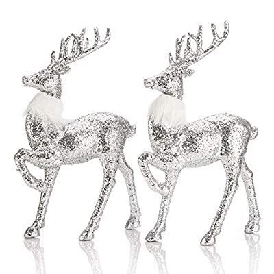"SANNO 12"" Standing Reindeer Decorations 2 Christmas Deer Figurines Christmas Silver Sequined Glitter Reindeer Deer Ornament Figurines for Table top Shelf Office Desk Winter Decor"