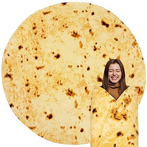 PAVILIA Burritos Tortilla Blanket Gift | Giant Tortilla Novelty Food Blanket, Double Sided Round...