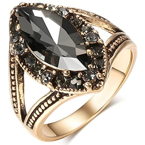 Ezzyso Anillo de Zircon en Forma de Diamante, Americana Retro Exquisito de Lujo de Lujo Anillo de aleación joyería (2 Piezas),7