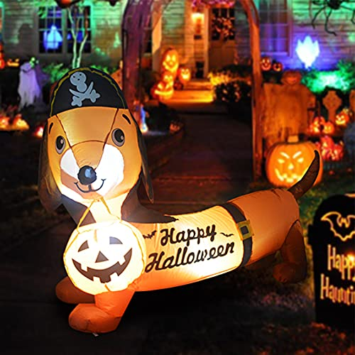 GOOSH 5 FT Halloween Inflatable Outdoor Dog with a Pumpkin & Pirate Hat, Blow Up Yard Decoration Clearance with LED Lights Built-in for Holiday/Party/Yard/Garden