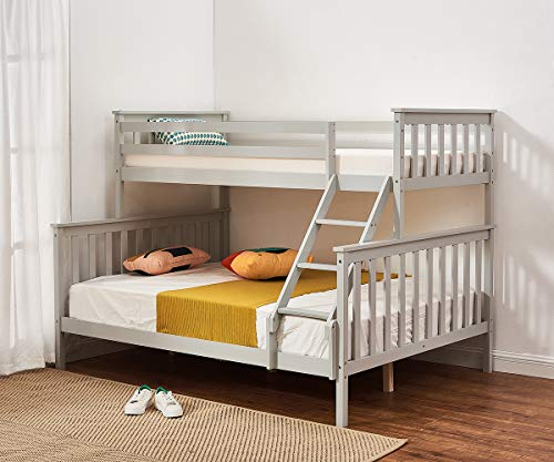Panana Triple Sleeper Bunk Beds, Grey Solid Wooden Bed Frame for Family, Dorm room
