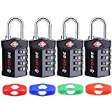 4 Digit TSA Approved Luggage Lock, 4 Pack, Change Your Own Color and Combination, Inspection Indicator, Alloy Body