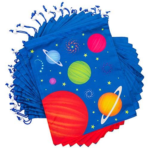 Bolsas de recuerdo de fiesta con cordón para el espacio exterior (12 x 10 pulgadas, 12 unidades)