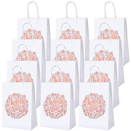 Cooraby 20 Pieces Thank You Gift Bags Rose Gold Bronzing Paper Bags with Handle White Party Bags for Shopping Wedding Birthday, Party Supplies