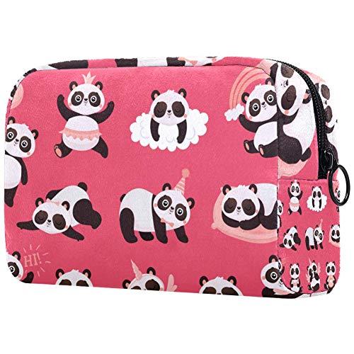 Organisateur de pinceaux de maquillage, petit sac de voyage organiseur avec fermeture éclair pour femmes et filles 7,3 x 3 cm, rouge et blanc Père Noël rire Joli panda rouge. 18.5x7.5x13cm/7.3x3x5.1in