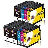 Clorisun 932 XL 933 XL Cartucce d'inchiostro per HP 933XL 932XL Nero Ciano Magenta Giallo Multipack per HP Officejet HP7110 HP7612 HP 7612 HP 6700 HP 6100 HP 7510 HP 6600 HP 7610 HP 7110 (9 Pezzi)