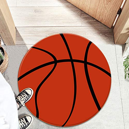 jieGorge Round Football Basketball Computer Chair Cushion Office Chair Mat Door Mats, Home Products Sales, for Halloween Day (Brown
