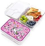 JARLSON® Brotdose für Kinder mit 4 Fächern - TÜV geprüft - Lunchbox aus Tritan - Bento Box auslaufsicher – Jausenbox für Kindergarten und Schule - Mädchen und Jungen - 850ml (Einhorn)