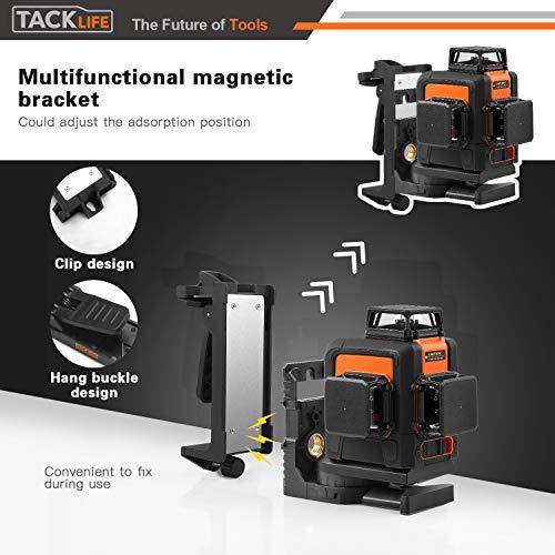 Kreuzlinienlaser TACKLIFE 3x360° Linienlaser, Grün, 40m, 3D Laser level mit 5200mAh Lithiumakku und USB Ladegerät,Selbstnivellierungslinienlaser mit Pulsfunktion, Schwenkbarer Magnethalterung-SC-L08 - 3