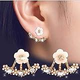 S925 Silver Earrings Ear Jewelry Eardrop Dangler Ear line Small Daisy Flower Back Hanging Earrings Sweet and Fresh Temperament Hypoallergenic Earrings