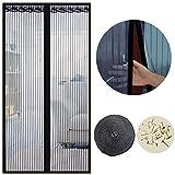 Cortina Mosquitera Magnética para Puertas, 100 x 220cm, Anti Insectos Moscas y Mosquitos, con Imanes Cierre Automático y Velcro Adhesiva, para Puertas Correderas/Balcones/Terraza(Negro)