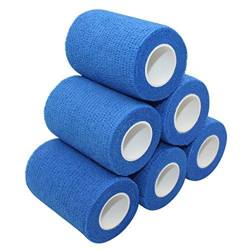COMOmed garza elastica bendaggio adesivo rotolo di nastro flessibile in tessuto non tessuto bendaggio coesivo Athletic Alleray testato 7.5cm x 4.5m, confezione da 6
