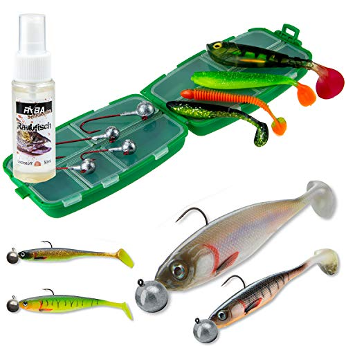TheBigFish Gummifisch Set mit Box Shad Softbaits mit Jighaken + Raubfisch Lockstoff Spray