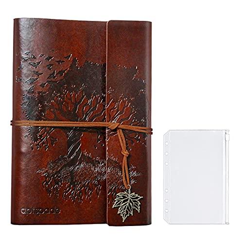PU Ledereinband Lose Blatt Blanko Notizbuch Tagebuch, Weiches PU Leder + Metallbinder + Qualitätspapier, A5 Nachfüllbares Reisenotizbuch, Braun