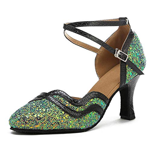 Zapatos Cerrados para Mujer Zapatos De Baile Latino Zapatos De Baile Modernos Sandalias para Banquete De Boda Verde