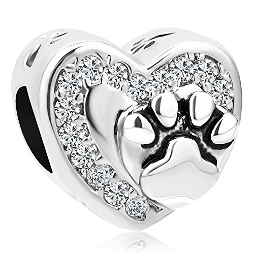 Uniqueen Heart Dog Paw Print Charms Beads for Charm Bracelets