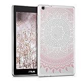 kwmobile Cover Compatibile con ASUS ZenPad C 7.0 (Z170C / Z170CG) - Custodia Tablet in Silicone TPU - Copertina Protettiva Tab - Backcover - Sole Indiano Rosa/Bianco/Trasparente