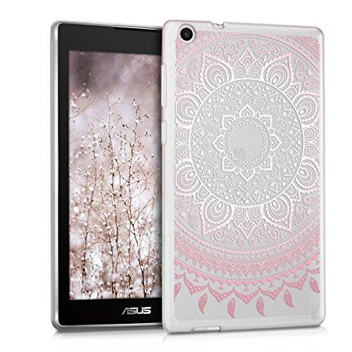 kwmobile Cover Compatibile con ASUS ZenPad C 7.0 (Z170C   Z170CG) - Custodia Cover Tablet in Silicone TPU - Copertina Protettiva Tab - Backcover - Sole Indiano Rosa Bianco Trasparente