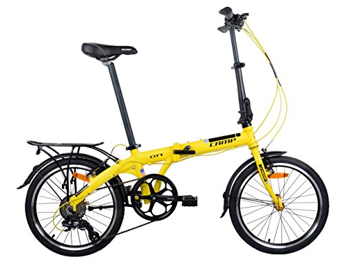"Buy CAMP Folding Bike Aluminum 20"" 8 Speed with Quick Release Wheels, Rear Rack and Fenders (Yello..."