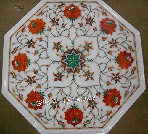 Mesa auxiliar octogonal de mármol blanco para patio, mesa auxiliar con piedras preciosas de cornalina y concha de abulón, se puede utilizar como mesa de pasillo, 30.5 cm