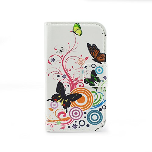 Qiaogle Telefono Case - Custodia in Pelle PU Basamento Custodia Protettiva Cover per Samsung Galaxy S Duos S7562 / S Duos 2 S7582 (4.0 Pollici) - HY04 / Butterfly + Colorful Flower