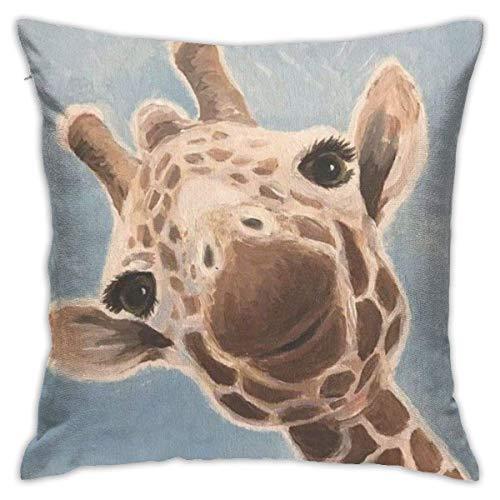 LuoYangShiLaoChengQuTianYuGangCaiXiaoShouBu Giraffe Paintingplush Pillowcase Romantic Living Room Family Bedroom Pillowcase 18 X 18 Inches
