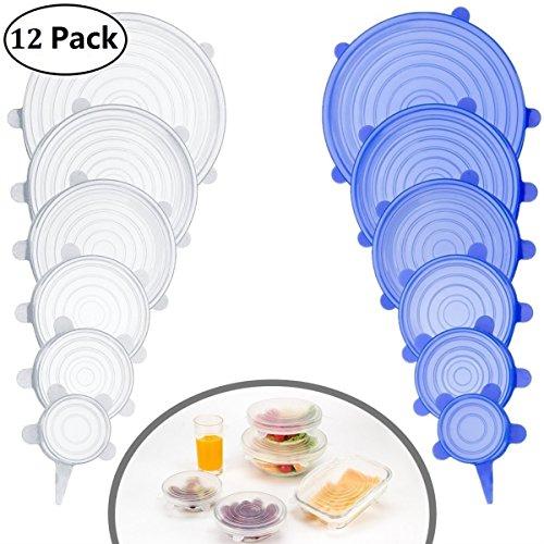 Coque en silicone stretch couvercles Lot de 12 housses de rangement réutilisable Différentes tailles pour récipient, bol et verre