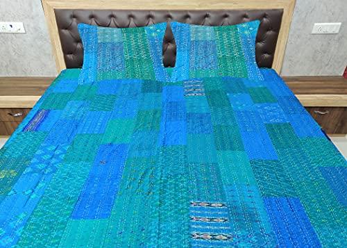 Indische Tagesdecke aus Seide, Sari, Kantha, Bettüberwurf, ethnischer Stil, gesteppt, Patchwork, indischer Bettbezug, altes