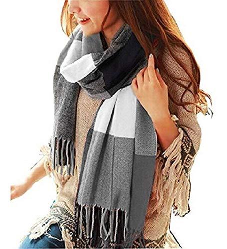 heekpek Mujeres caliente Mantas Cozy Pashmina bufanda larga tartán enrejado mantón (Nergo)