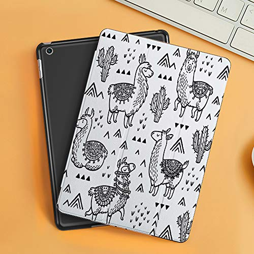 Case for iPad Air 10.2(2019/2018),Set of Decorative Llamas and Cactuses in Outline,Cover with Auto Sleep Wake Feature, Slim Lightweight Stand Protective Case