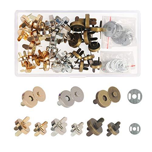 ZERHOK 30 Stücke Magnetknöpfe 14mm und 18mm Magnetische Knöpfe 3 Farben Magnetverschluss Nähen...