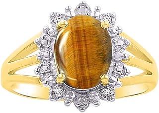 RYLOS 14K Yellow Gold Ring Princess Diana Inspired Gemstone & Halo of Genuine Diamonds - 9X7MM Color Stone