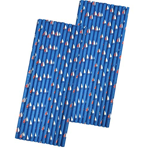 Papierstrohhalme, maritimes Motiv, Rot/Weiß/Blau Segelboot, 50 Stück