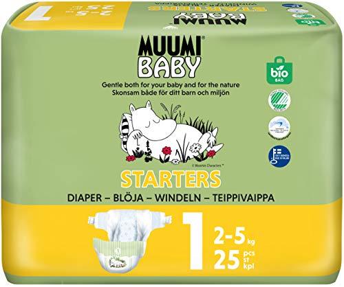 25 Pañales biodegradables muumi New Born Starters, 2–5 kg Talla 1