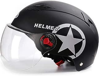 TKer Open Face Motorcycle Helmet with Detachable Goggles Sun Visor Universal Size for Adults Men & Women Jet Helmet Half Helmet Scooter Helmet Baseball Helmet DOT Approved, Matte Black (54-62cm)