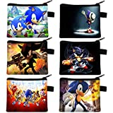 Juego de 6 Anime Sonic The Hedgehog Cartera Figuras de Sonic The Hedgehog Cartera Sonic Boy The Erizo Student Cartera Cremallera Monedero Bolsillo para Niño y Niña para Moneda Tarjeta de Bus