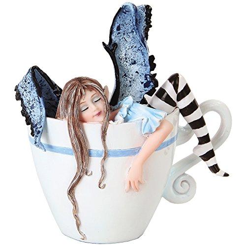 Figura de hada durmiendo en taza con texto en inglés 'I Need Coffee Fairy Sleepin in Cup' (4.