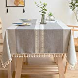 LITONGFU Table Cloth Solid Decorative Linen Tablecloth with Tassels Rectangular Wedding Dining Table Cover Tea Table Cloth