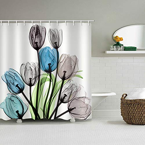 Fabric Shower Curtain Beautiful Tulip Watercolor Blue Grey Brown Transparent Flowers Green Leaves Machine Washable Digital Printing Bathroom Decor with 12 Hooks 72 x 72 inches