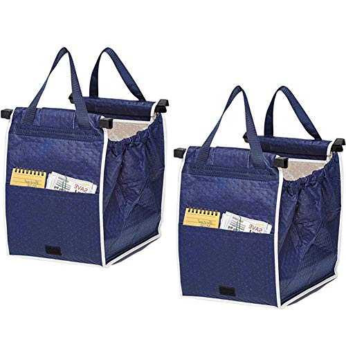 2Pack Insulated Reusable Grab Shopping Bag Collapsible Grocery Shopping Tote Bags with Handles,Clip on Shopping Cart As Seen On TV