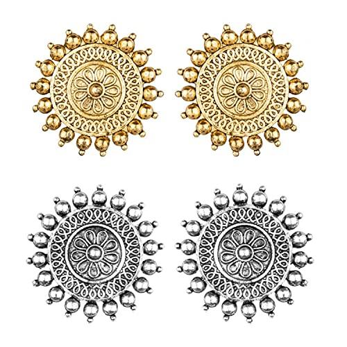 Efulgenz Collar de gargantilla india Maang Tikka pendientes Bollywood Crystal Kundan collar pendientes cabeza cadena conjunto, Cobre,