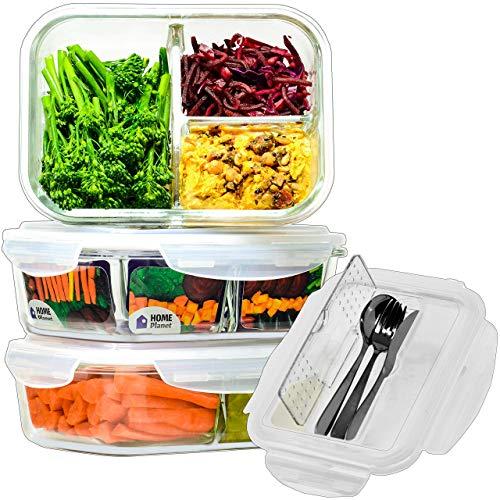 Home Planet Boîte Repas Verre | 3 Compartiments avec Couverts | Lot de 3 1050 ML | 97% d'emballages en Plastique enlevés | Lunch Box | Lunchbox Verre | Boîtes Alimentaires en Verre